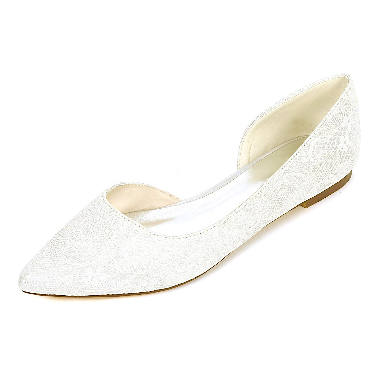 2046-08LS Damen Brautschuhe Lace Satin Damen Flache Ballett Brautjungfer Satin Slip On Hochzeit Brautkleid Schuhe Ivory UK7 EU40