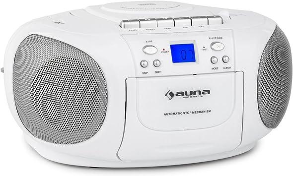 auna BoomBerry - CD-Radio , Minicadena , Radiocassette , CD/MP3 programable , Cassette , Radio FM , Puerto USB Compatible con MP3 , Entrada AUX , ...