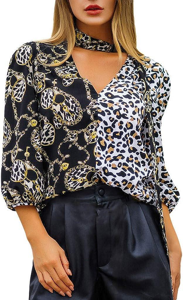 Zalanala Womens Fashion Three Quarter Sleeve Plus Size V-Neck Leopard Print T-Shirt Tops Blouse