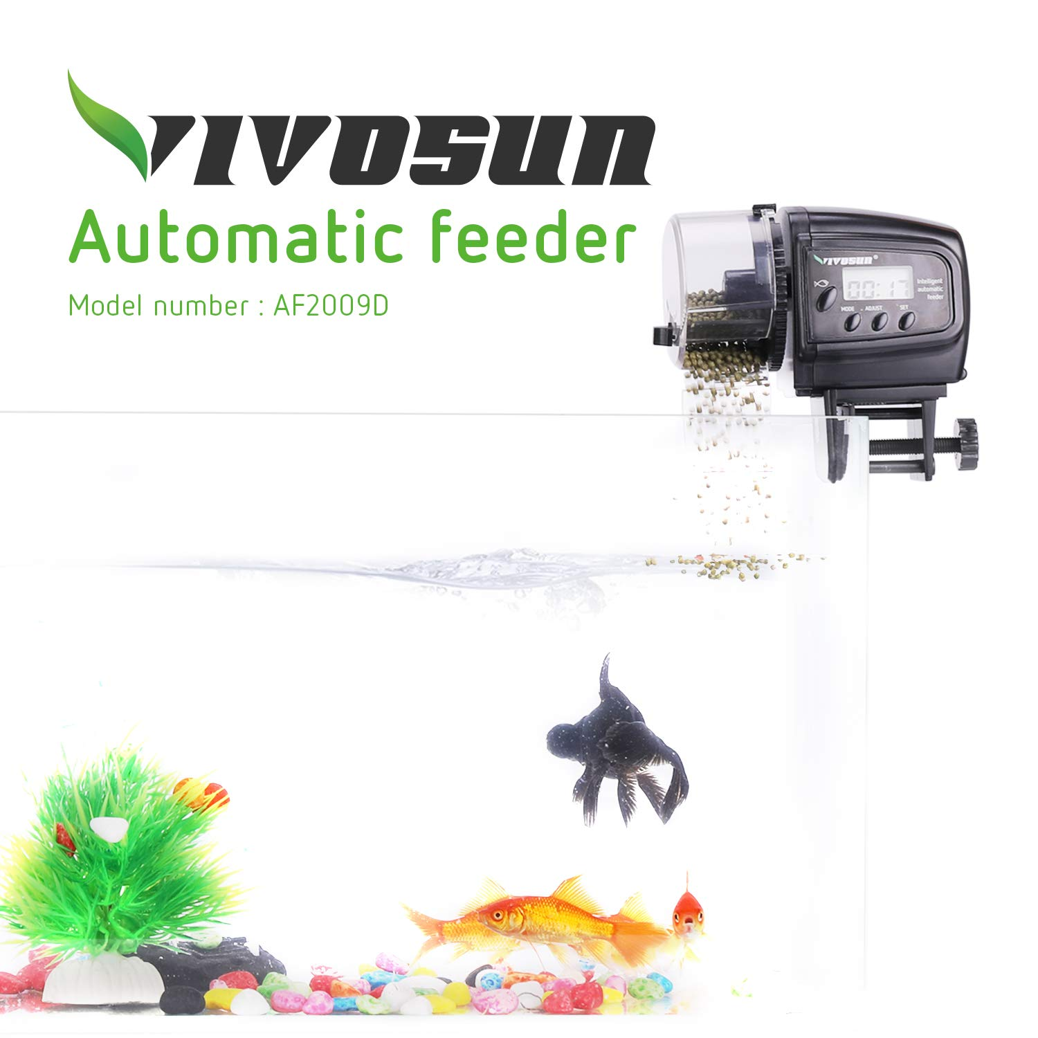 VIVOSUN Programmable Automatic Fish Feeder with Volume Timer Control