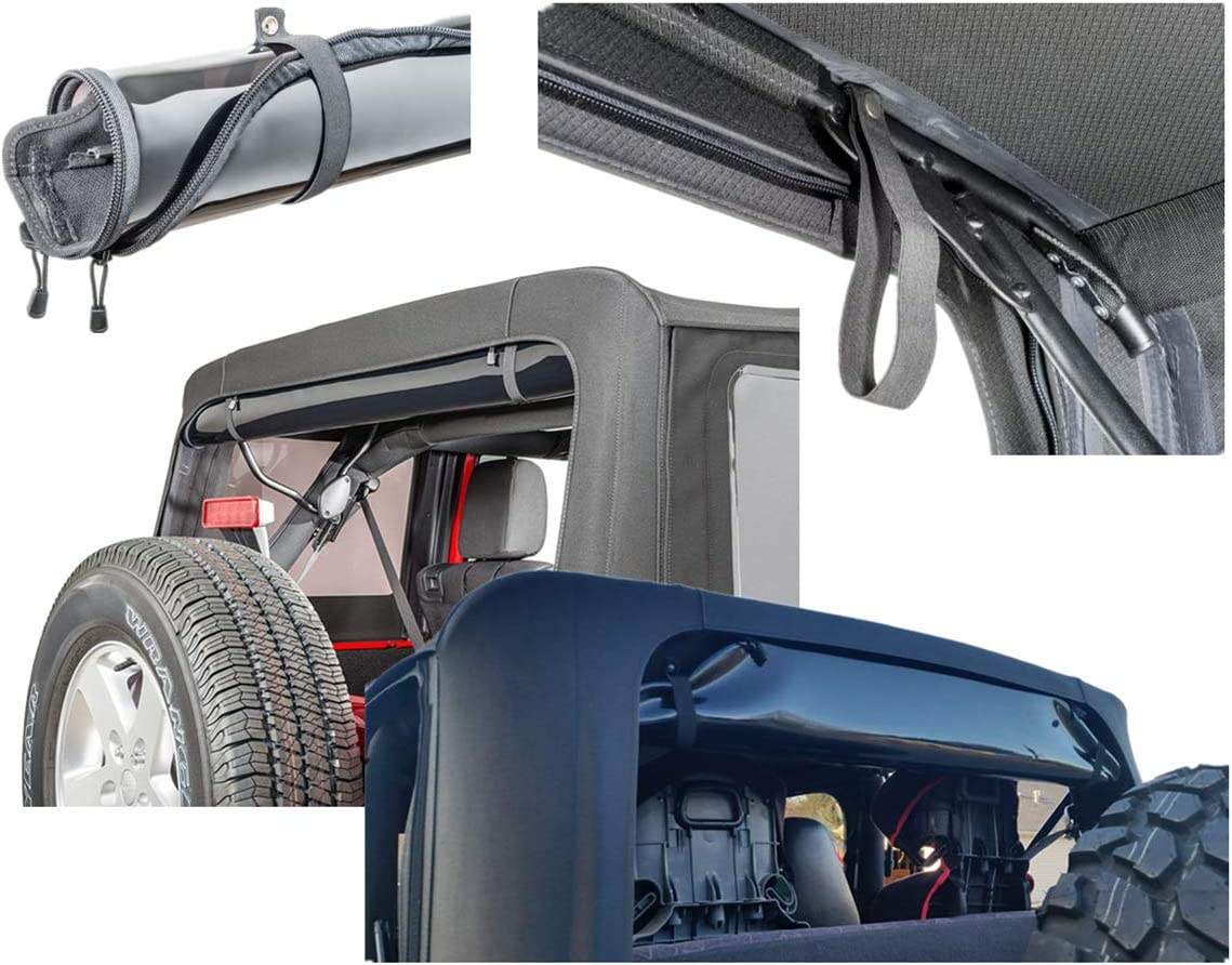 for Jeep Wrangle 2007-2019 Black AUFER Newest Rear Window Straps Replacements and Soft Top Straps Tie Down Straps Sunrider Straps