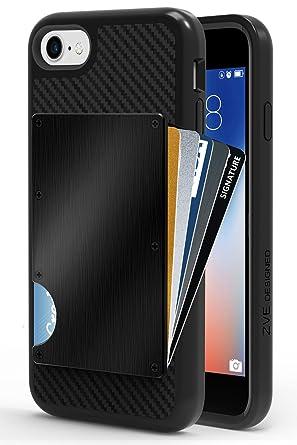 buy online 84bce a81d3 iPhone 8 Wallet Case, iPhone 7 Card Holder Case, ZVE Apple iPhone 7/8 Case  with Aluminum Credit Card Holder Slot Shockproof Defender Anti-Scratch Case  ...