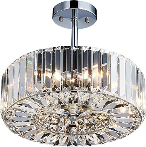 Saint Mossi Modern Crystal Semi Flush Mount Chandelier Lighting,4 Lights,Close to Ceiling Light