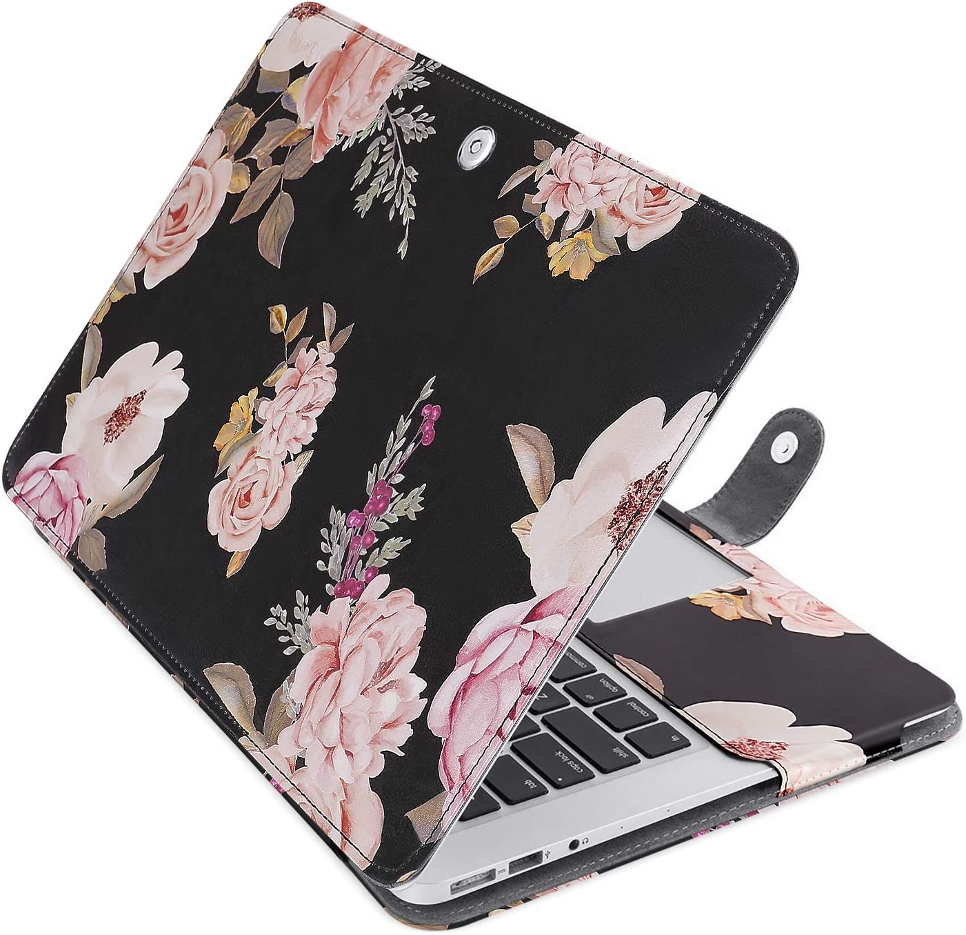 MOSISO MacBook Air 13 inch Case, Pattern PU Leather Book Folio Protective Stand Cover Sleeve Compatible with MacBook Air 13 inch A1466 / A1369 (Older Version Release 2010-2017), Black Base Peony