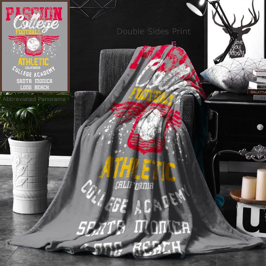 Ralahome Unique Custom Double Sides Print Flannel Blankets College Football Team Art Super Soft Blanketry for Bed Couch, Twin Size 60 x 70 Inches