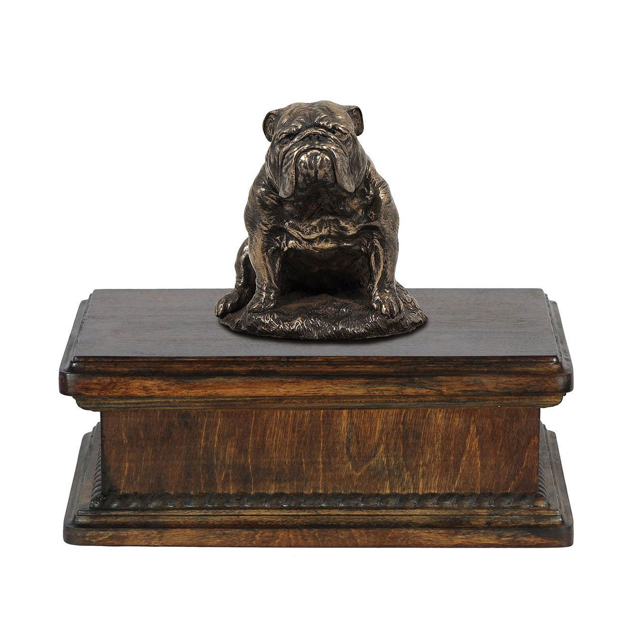 Bulldog (sitting), memorial, urn for dog's ashes, with dog statue, exclusive, ArtDog