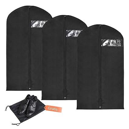 YISSVIC 3Pcs Fundas de Ropa Bolsa de Trajes de Transpirable de Almacenamiento de Textil no Tejido 110×60cm con Bolsa de Zapatos 40×25cm