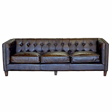 Merveilleux Design Tree Home Capetown 3 Seater Vintage Inspired Sofa, Brown Leather