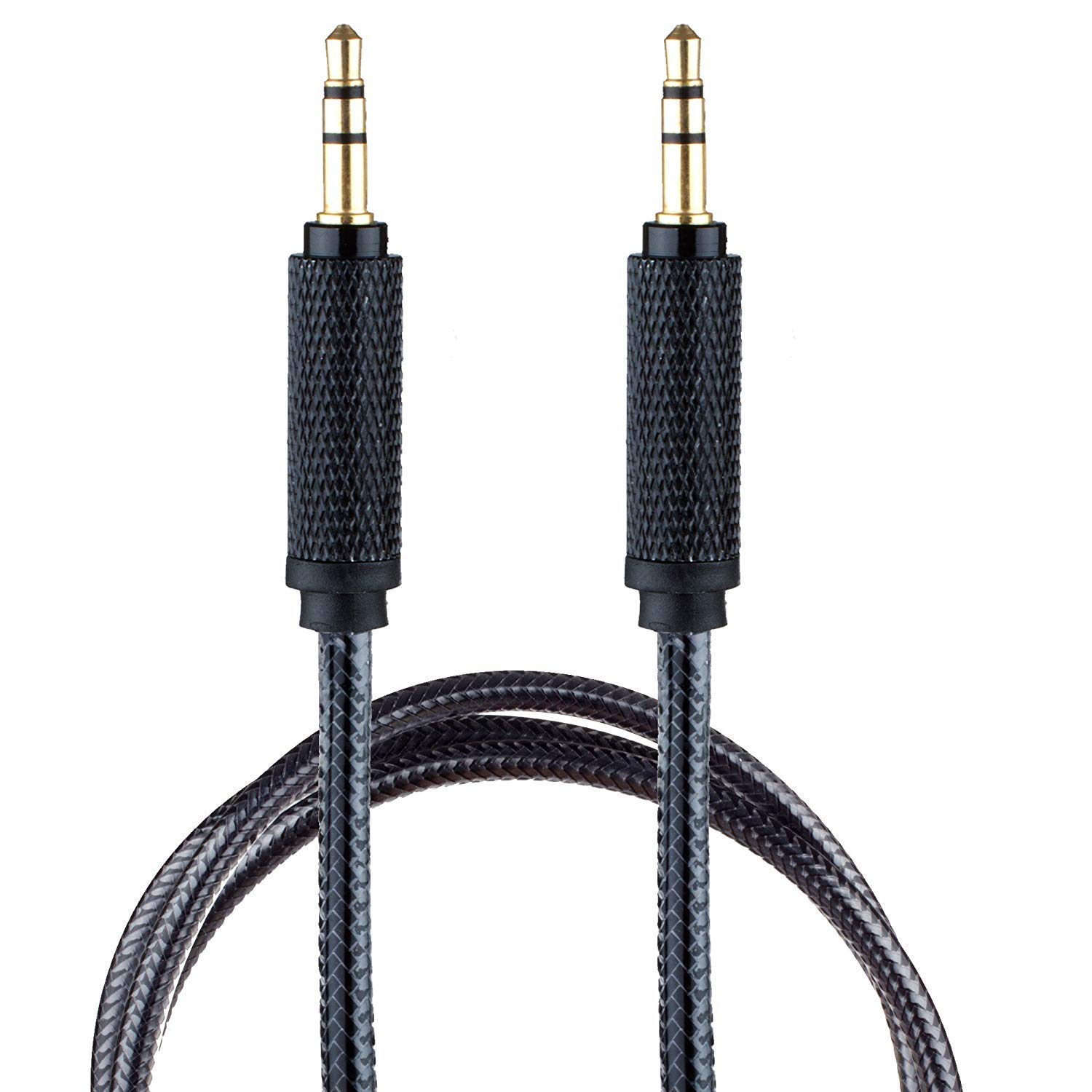 Surya 3.5mm AUX in Cord Auxiliary Audio Cable for Car [6 ft Nylon] 3.5 mm Male to Male 1/8 Stereo Wire w/Sheilded Connector [Black]