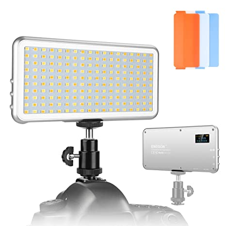 ENEGON Panel de luz de vídeo regulable(180 LED) para la ...