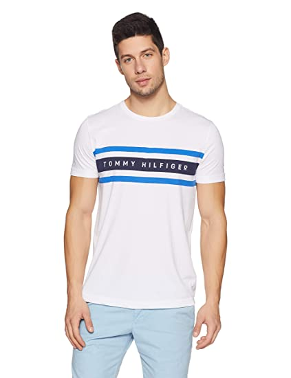 c355cfca8 TOMMY HILFIGER Men s Printed Regular Fit T-Shirt (A8AMK138XL Bright White)