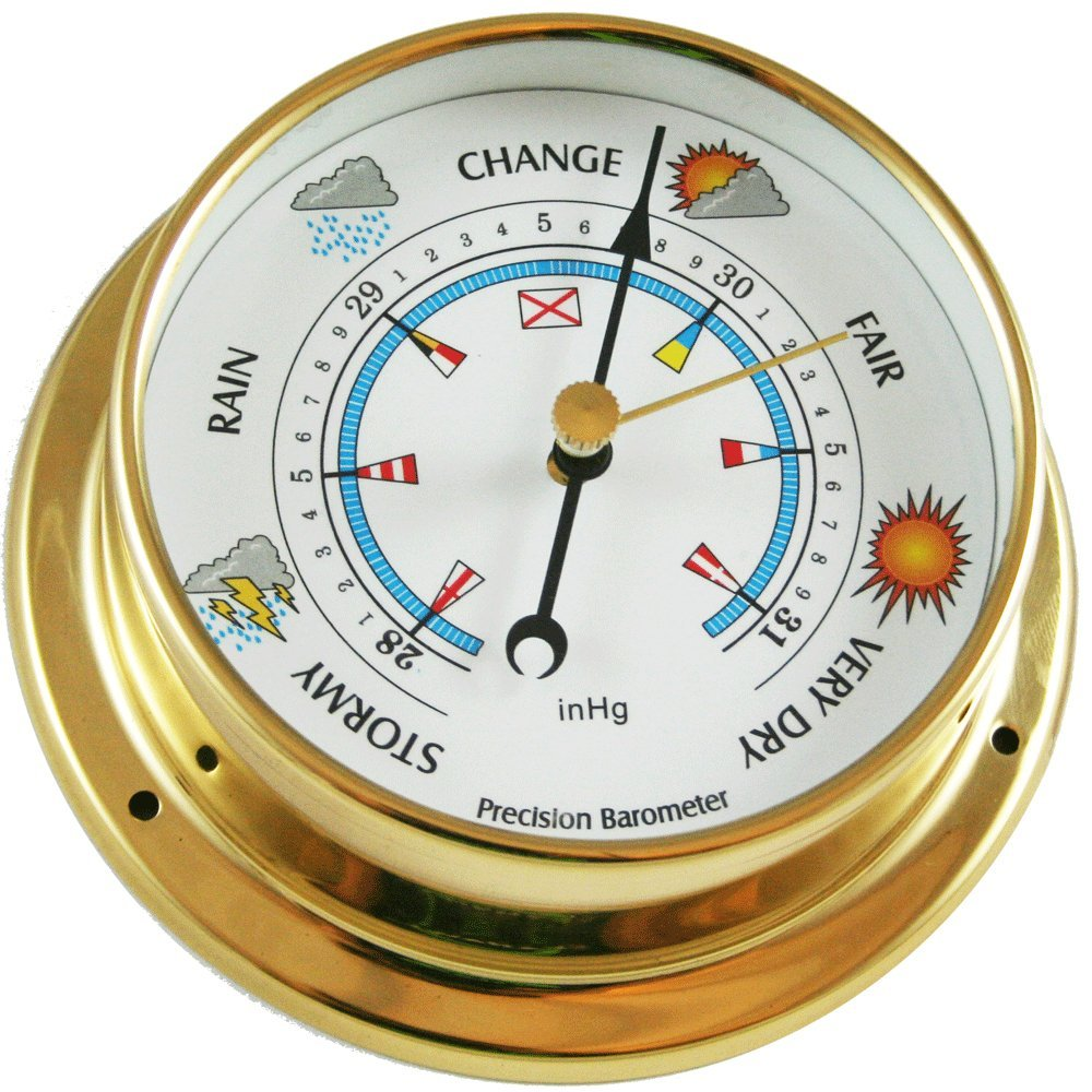 Ambient Weather BAROMETER-26 4.75'' Brass Barometer, USA Version