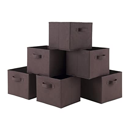 Cajas plegables decorativas de almacenamiento, de Luxehome, lona natural, 6 unidades, color