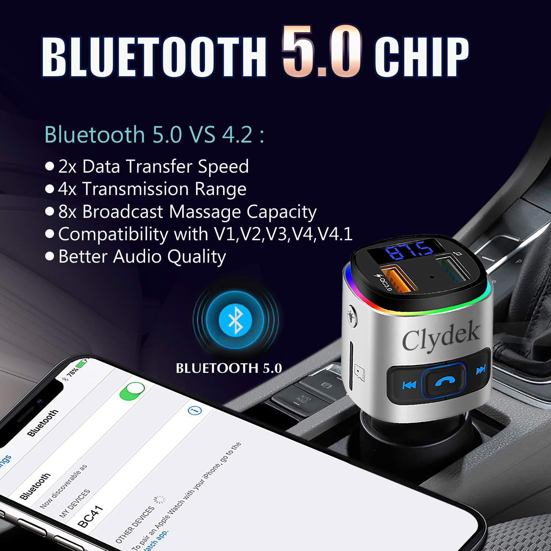 Adaptateur Audio pour Voiture Support pour Lecteur Mp3 Carte U Disque Tf avec Lumi/èRe Color/ée Kit Mains-Libres pour Voiture avec Port USB Qc3.0 Clydek FM Transmetteur Bluetooth 5.0