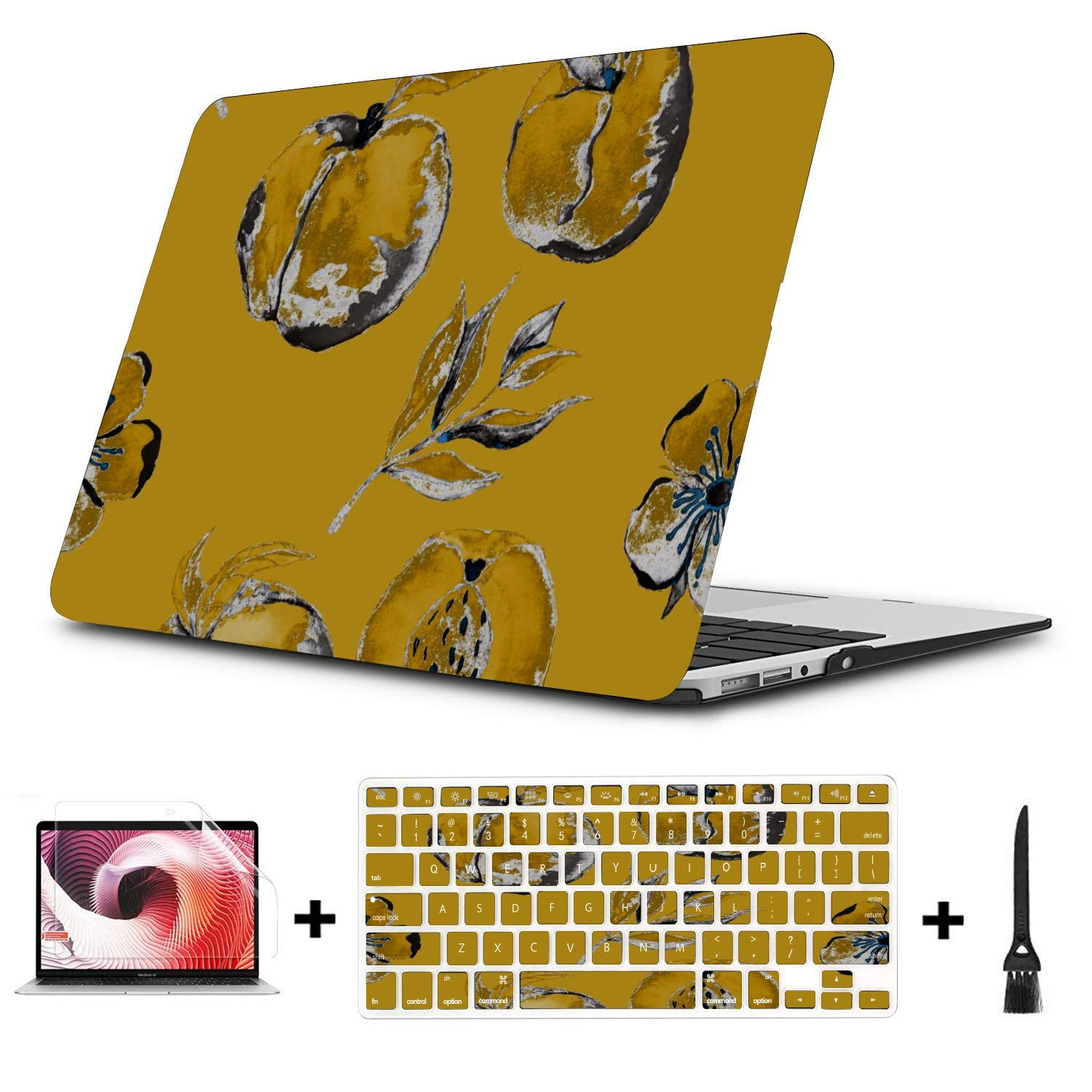 MacBook Case 13 Inch Summer Sweet Fruit Yellow Peach Canned Plastic Hard Shell Compatible Mac Air 11 Pro 13 15 Mac Pro Case Protection for MacBook 2016-2019 Version