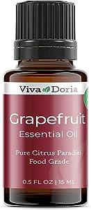 Viva Doria 100% Pure Grapefruit Essential Oil, Undiluted, Food Grade, 15 ml (0.5 Fluid Ounce)