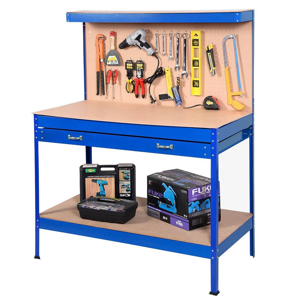 Steel Frame Workbenches Tool Storage Workshop Table Tools Table by BestMassage (Image #2)