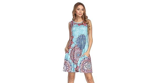 5919618bb95 Demetory Women s Summer Sleeveless Tribal Print Plus Size Bohemian Swing  Dress with Pocket (Light Blue