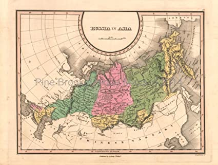 Map Of Russia In Russian.Russia In Asia Antique Map Original Russian Decor History
