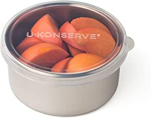 U-Konserve Stainless Steel Round Food-Storage Lunch Container 9oz - Clear Silicone Lid - Leak Proof and Airtight - Dishwasher Safe - Plastic Free