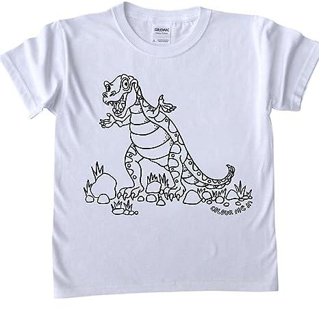 T Shirt Per Bambini Da Colorare Disegno T Rex Dimensioni