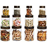 Cello Checkers Plastic PET Canister Set, 12 Pieces, Clear