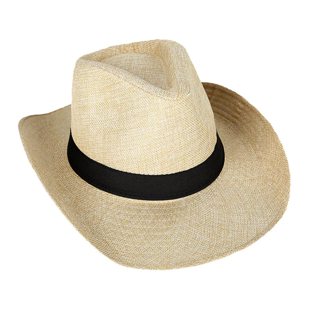 Mwfus Casual Simple Cowboy Hat Sun Protection Hat Jazz Hat Straw Hat For Men