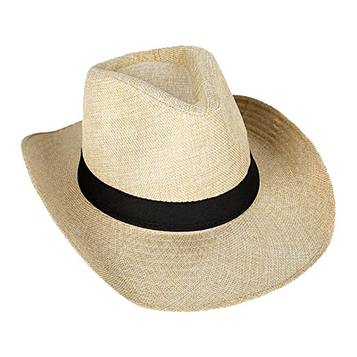1c08151baca Image Unavailable. Image not available for. Color  BAOBAO Summer Women Men  Beach Braid Straw Sun Hat Short ...
