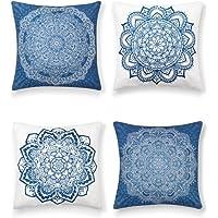 SUMGAR Fundas de Cojínes Mandala de Azules y Blanco de Boho Lino Indio Fundas de Almohada Decorativos de Bohemio para…