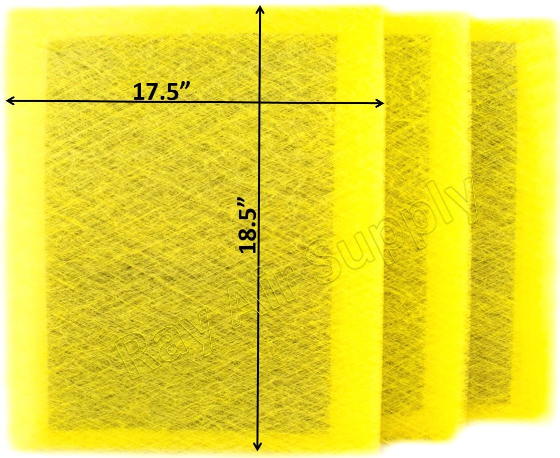 RAYAIR SUPPLY 20x20 MicroPower Guard Air Cleaner Replacement Filter Pads (3 Pack) Yellow