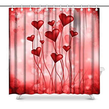 Extra Long Heart Pattern Shower Curtain Set with Hooks for Bathroom Use