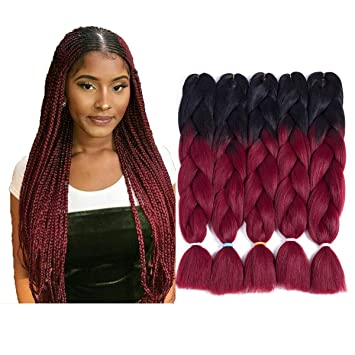 Amazon Com Two Tone Ombre Jumbo Braid Hair Extension For Braids