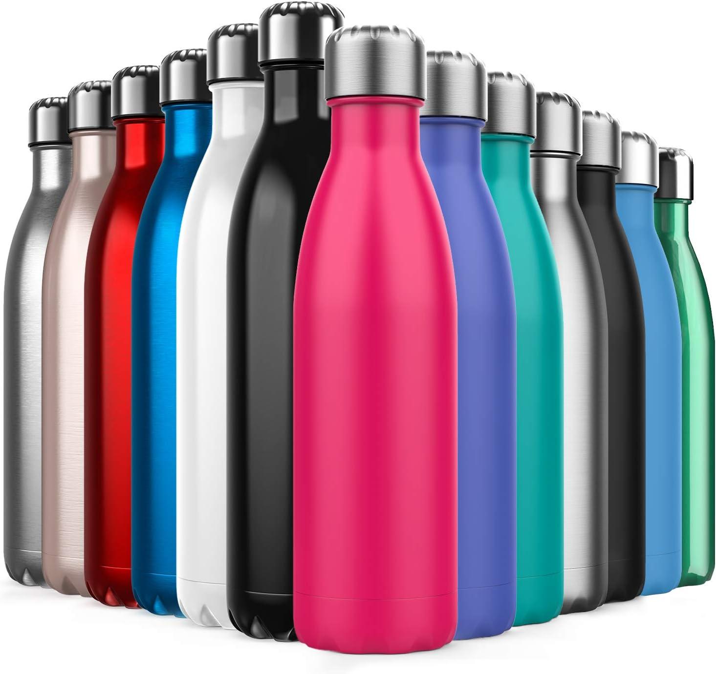 Invool Botella de Agua de Acero Inoxidable,Diseño de Pared Doble,Boca EstáNdar,para Correr,Gimnasio,Yoga,Ciclismo,500ML,Rosado