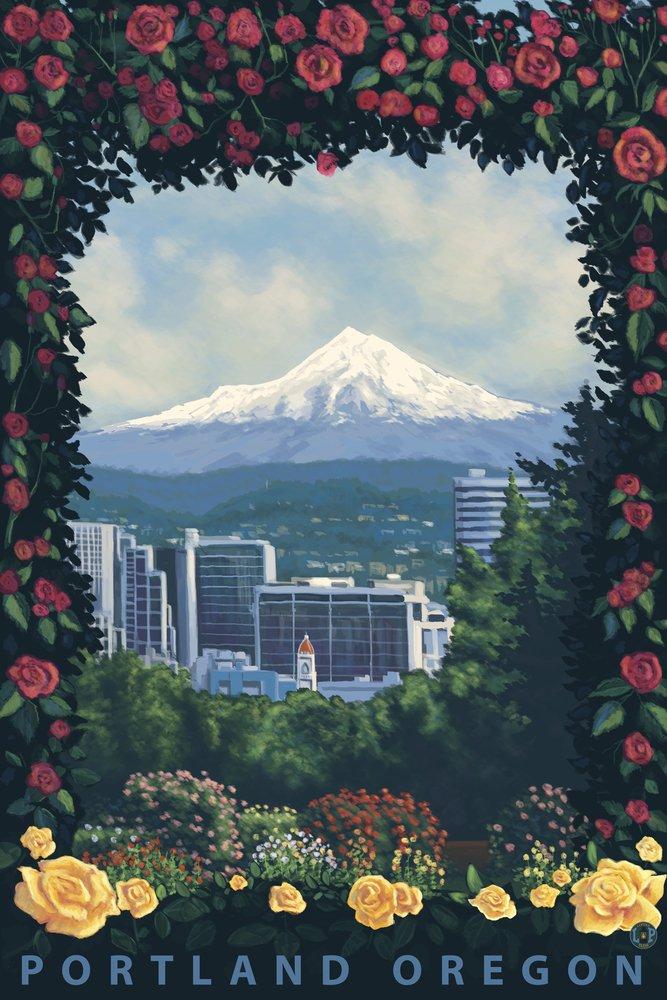 ポートランド、オレゴン州 – Roses and City 10 x 15 Wood Sign LANT-30923-10x15W B07367TFTH 10 x 15 Wood Sign10 x 15 Wood Sign