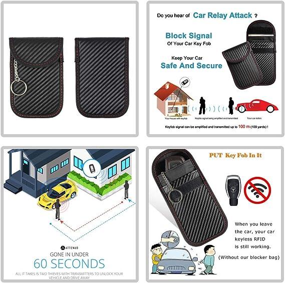 Bolso de Faraday para llaves de autom/óvil NFC RF RFID Mydee 2 PAQUETE Funda de bloqueo de se/ñal de llave para autom/óvil GXM Anti robo Faraday Funda protectora para WIFI LTE