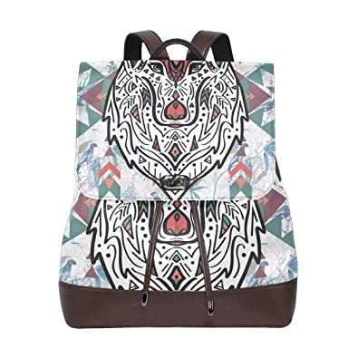 b3c52ebdc3aa Amazon.com: PU Leather Shoulder Bag,Colorful Wolf Backpack,Portable ...
