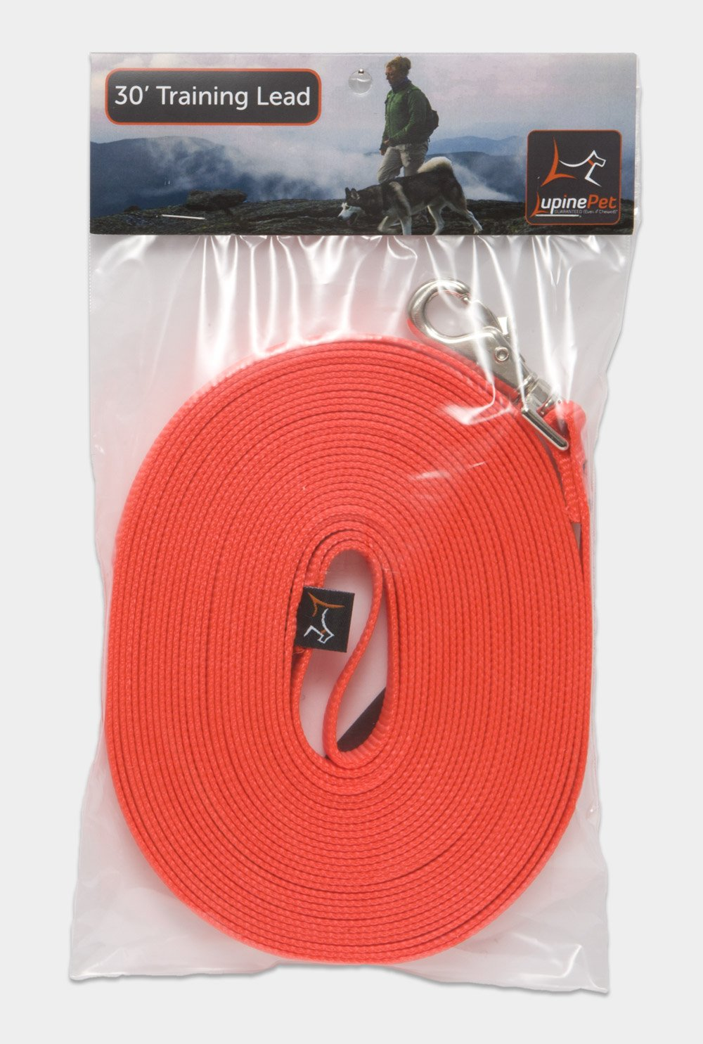 LupinePet Basics 3/4'' Blaze Orange 30-foot Extra-Long Training Lead/Leash for Medium and Larger Dogs