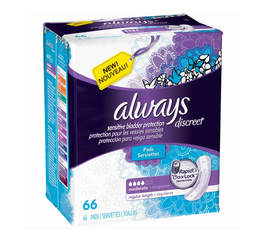 Always Discreet, Incontinence Pads, Moderate, Regular Length, 66 Count product image