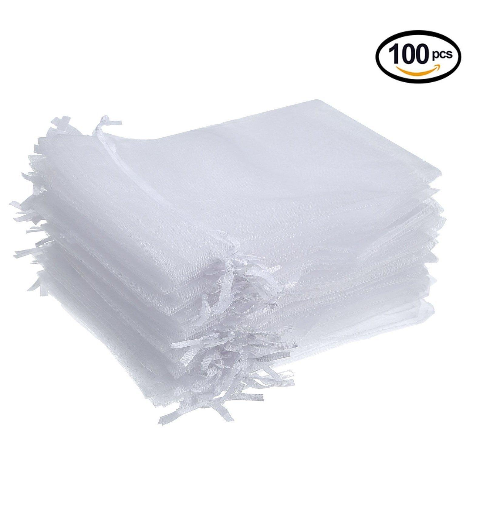 Amazon.com: Hengu 100Pcs 5x7 Inches White Sheer Drawstring Organza ...