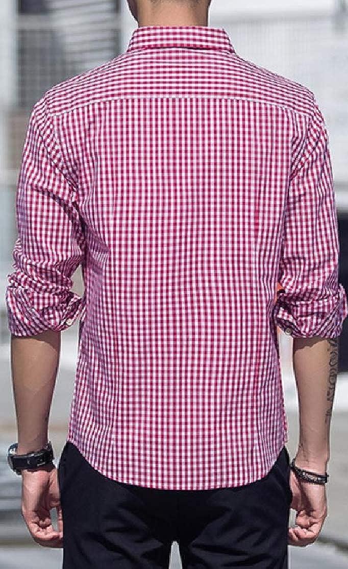 Joe Wenko Men Turn Down Plaid Leisure Tops Long Sleeve Button Up Shirts