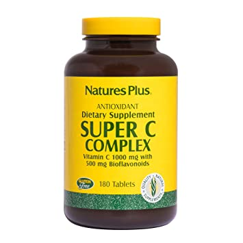 Natures Plus Super C Complex - 1000 mg, 180 Vegetarian Tablets, Sustained Release -