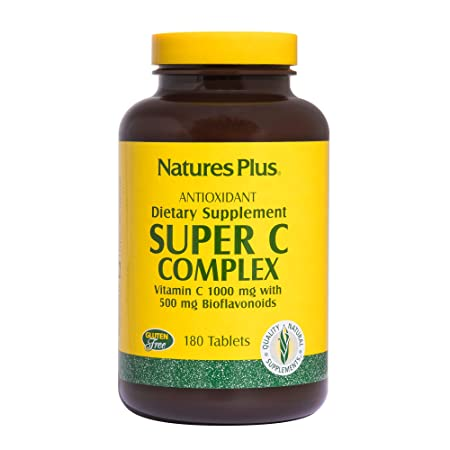 Amazon.com: Natures Plus Super C Complex - 1000 mg, 180 Vegetarian Tablets, Sustained Release - High Potency Immune Support Supplement, Antioxidant - Gluten ...