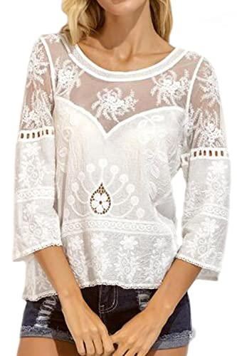 La Mujer Encaje Patchwork Sheer Hollow Out Estampado Floral Blusa De Manga Larga T - Shirt