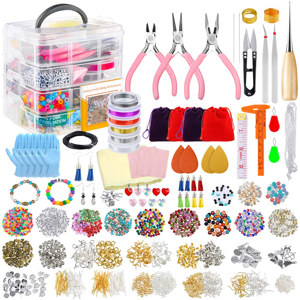 PP OPOUNT Deluxe Jewelry Making Supplies Kit with Instructions, Jewelry Beads, Charms, Findings, Jewelry Pliers, Beading Wire for Necklace Bracelet, Earrings Making and Repairing by PP OPOUNT