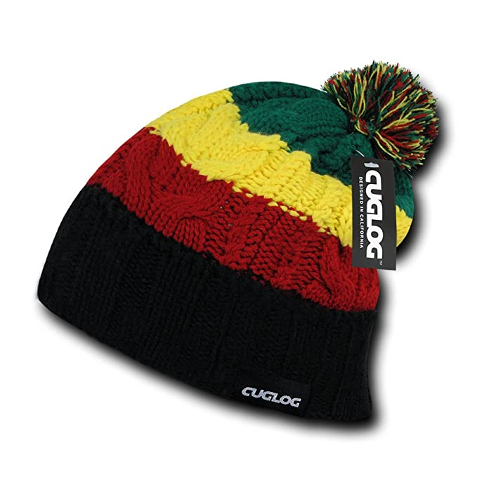CUGLOG 4 Stripes Knit Hat Fuzzy Ball Beanie Rasta One Size at Amazon Men s  Clothing store  f4a30aff3ae3