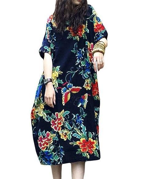 6c55021e957 LVCBL Women Summer Casual Plus Size Floral Print Short Sleeve Linen Mini  Party Dress Navy S