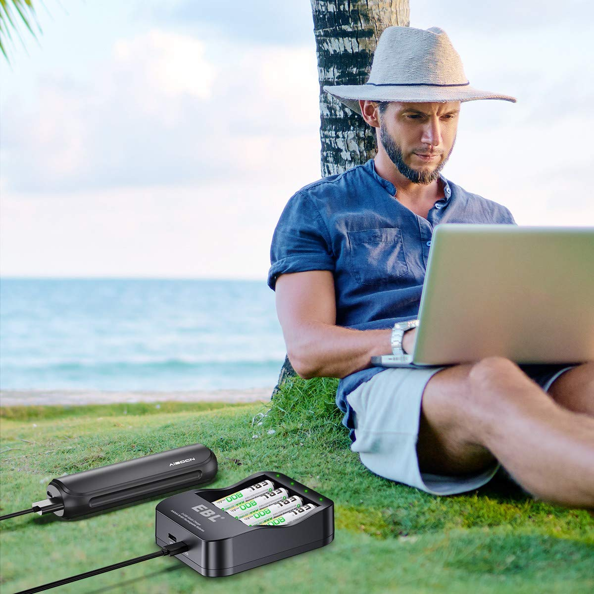 EBL iQuick Cargador de Pilas, 4 Ranuras Independiente Ni-MH AA AAA Pilas Recargables con 4 Ni-MH AAA 1100mAh Pilas con Dos Modos Carga(Micro USB y USB-C)