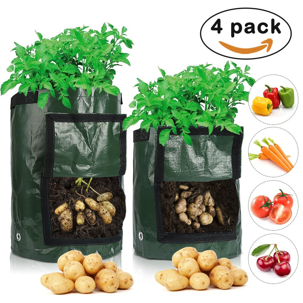 Senignol 2PCS 10 Gallon and 2PCS 7 Gallon Potato Grow Bags, Planter Bags with Access Flap and Handles for Planting Vegetables,Onions,Radish,Taro and so on