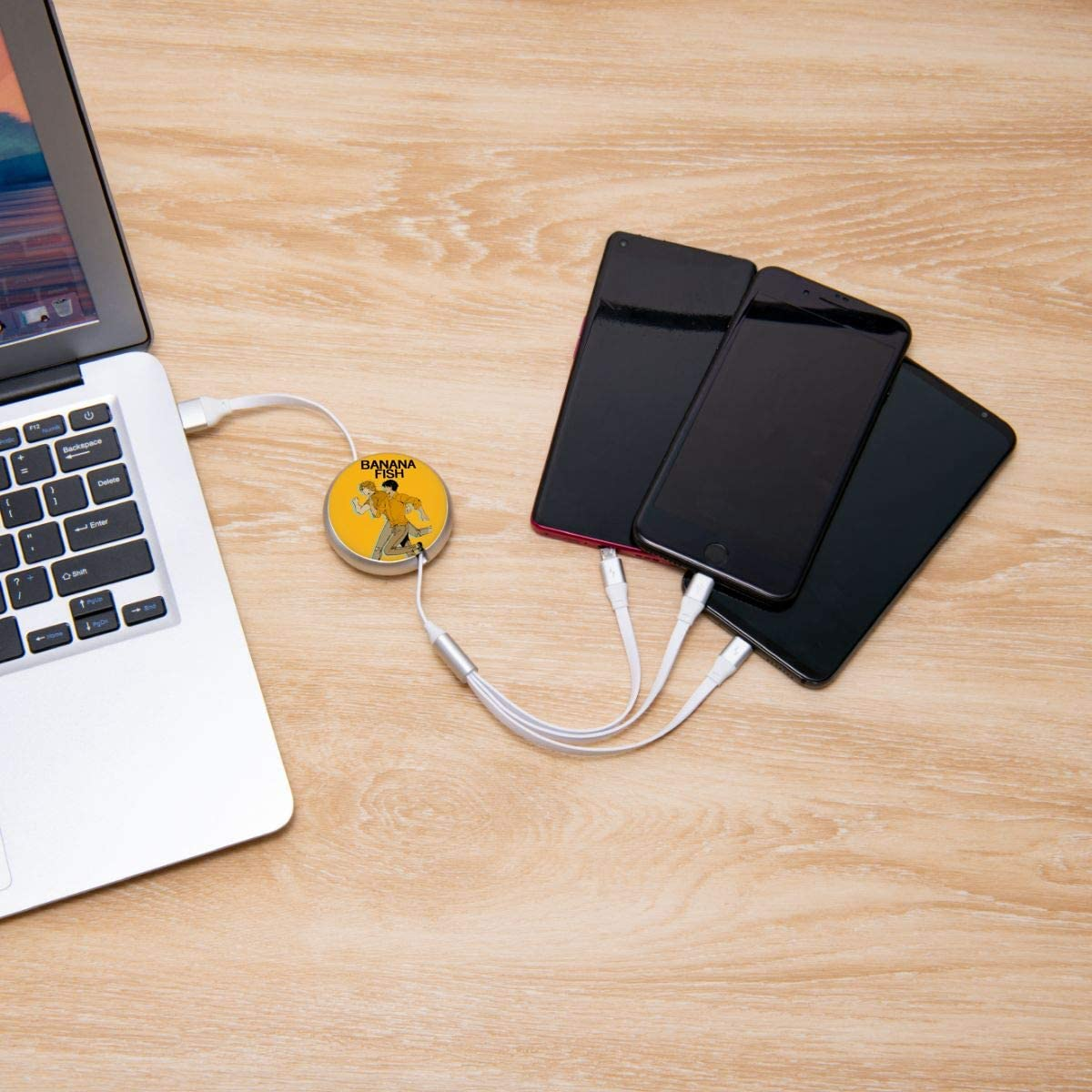 Aluminum Alloy Shell Pc Surface N//C Banana Fish Anime Round Three-in-One Charging Cable TPE Cable