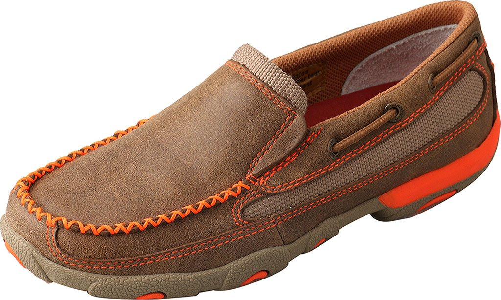 Twisted X Women'S Slip-On Driving Moccasins, Color Bomber/Neon Orange (Wdms007) B01MCTGDSC 7 B(M) US|Bomber/Neon Orange Leather